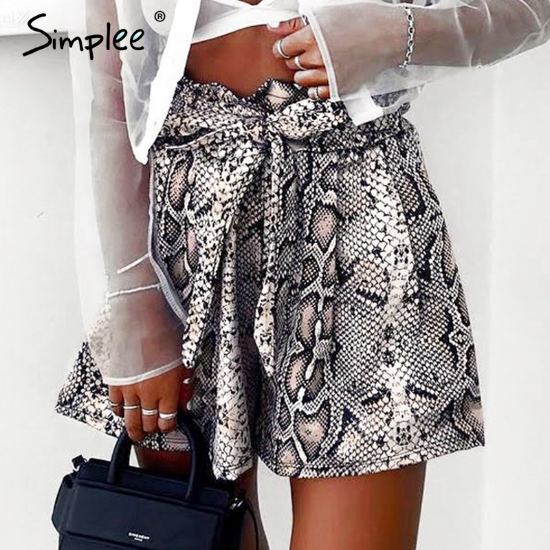 Simplee Sexy snake print   shorts   women Sash high elastic waist summer casual   shorts   Vintage streetwear fashion   short   bottom 2019