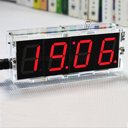 ساعة رقمية ساعة أرقام diy led الإلكترونية ديي كيت الاتفاق متحكم التحكم الخفيفة الحرارة وقت التسجيل عرض القضية