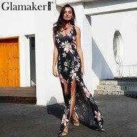 Glamaker Elegant Floral Printed Women Dress Sexy V Neck Backless Maxi Dress Female Halter Split Christmas