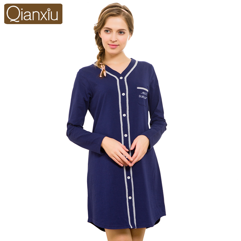 Long Sleeve Cotton Nightshirts for Women