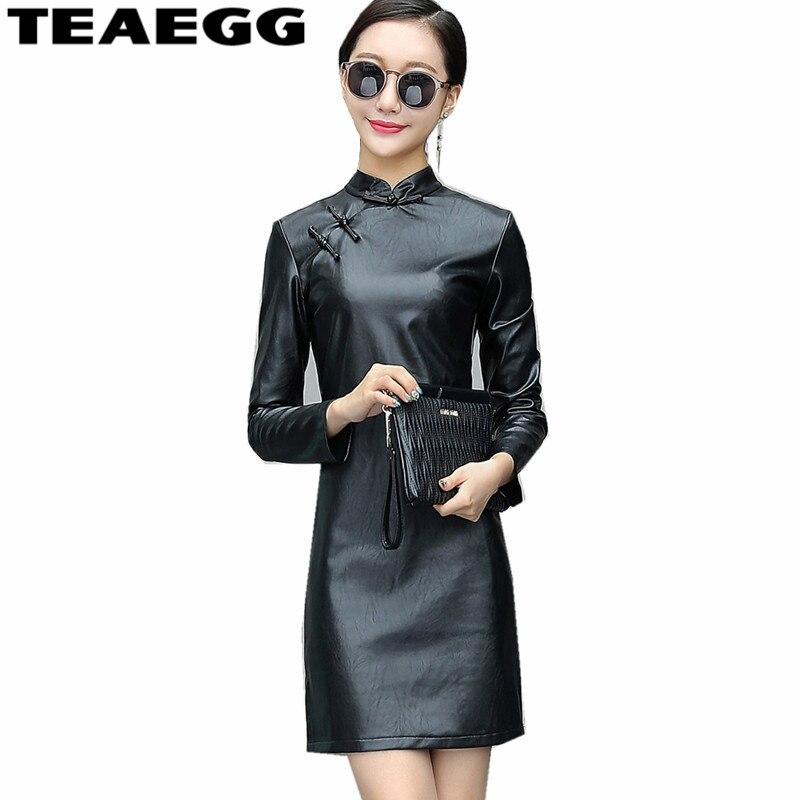 sale retailer 415b2 455ae US $86.67  TEAEGG PU Schwarz Leder Kleid Frauen Chinesischen Stil Frauen  Kleider Neue Ankunft 2019 Vestidos Vintage Mini Langarm Kleid AL235-in ...