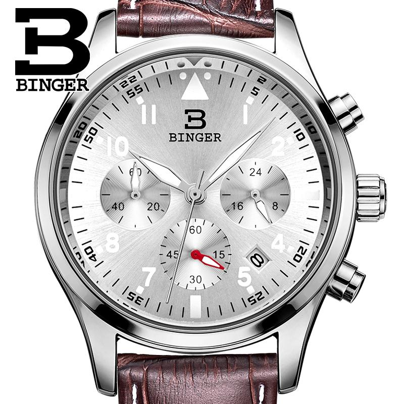 Switzerland BINGER men's watches luxury brand Quartz waterproof leather strap clock Chronograph Stop Watch Wristwatches B9202-7 switzerland binger men s watches luxury brand quartz waterproof leather strap clock chronograph stop watch wristwatches b9202 10