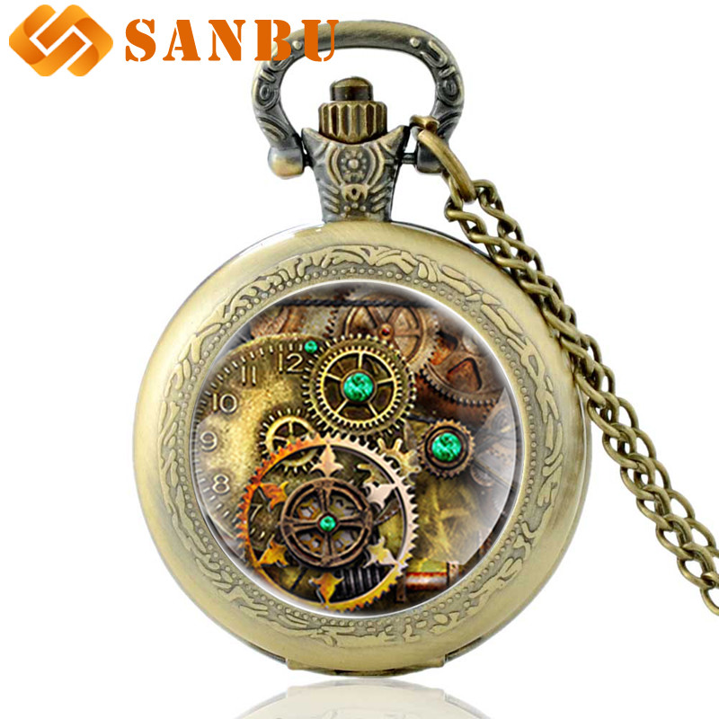 Vintage Personality Steampunk Bronze Quartz Pocket Watch Retro Men Women Necklace Watches Gifts