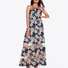 2019 Elegant floral print mesh long dress women Autumn boho holiday lace up maxi dress Sexy see through beach vestidos floral print see through dress