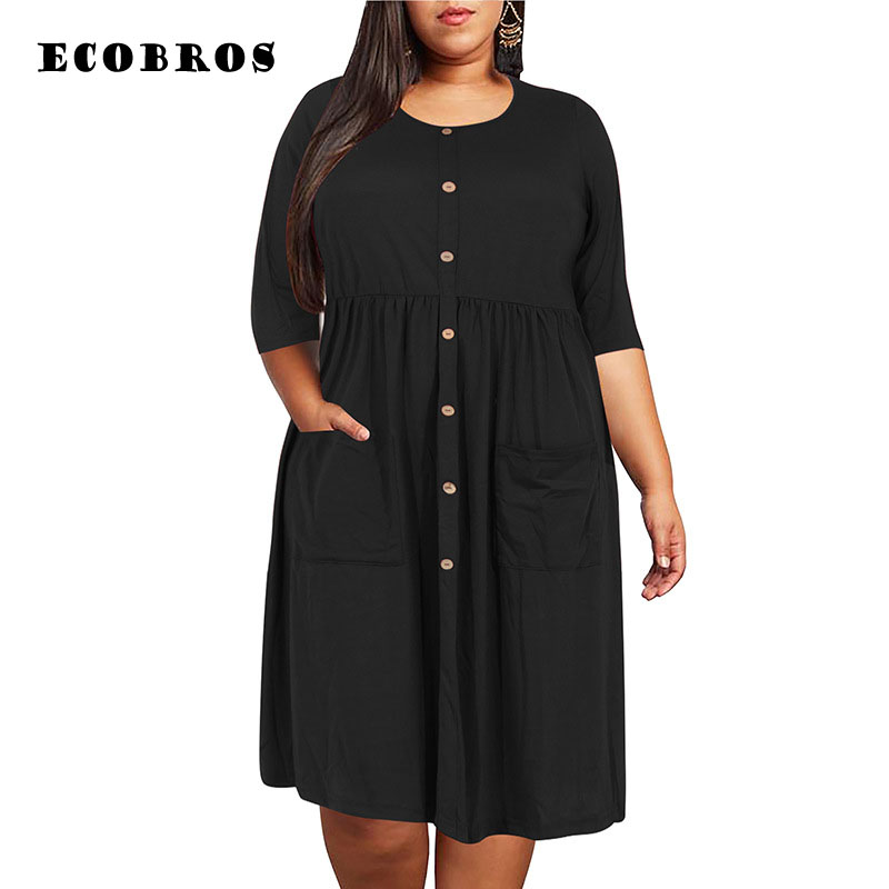 Big Size 9XL Dress For Fat MM 2019 Women Dress Loose Pocket Design Solid Plus Size Dresses Women Clothing Party Dress Vestidos