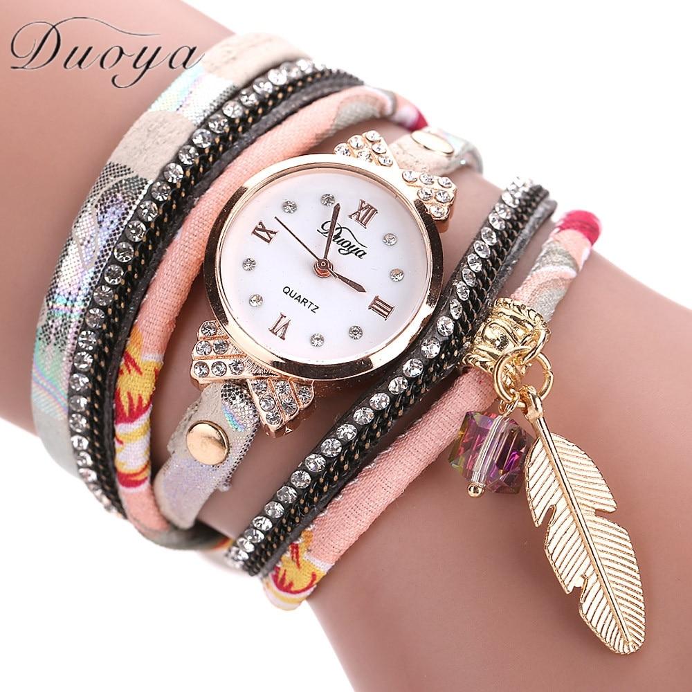 Duoya Топ бренд класса люкс кварцевые наручные часы женские браслет Часы дамы часы женские 2017 подарки Montre Femme relogios feminino