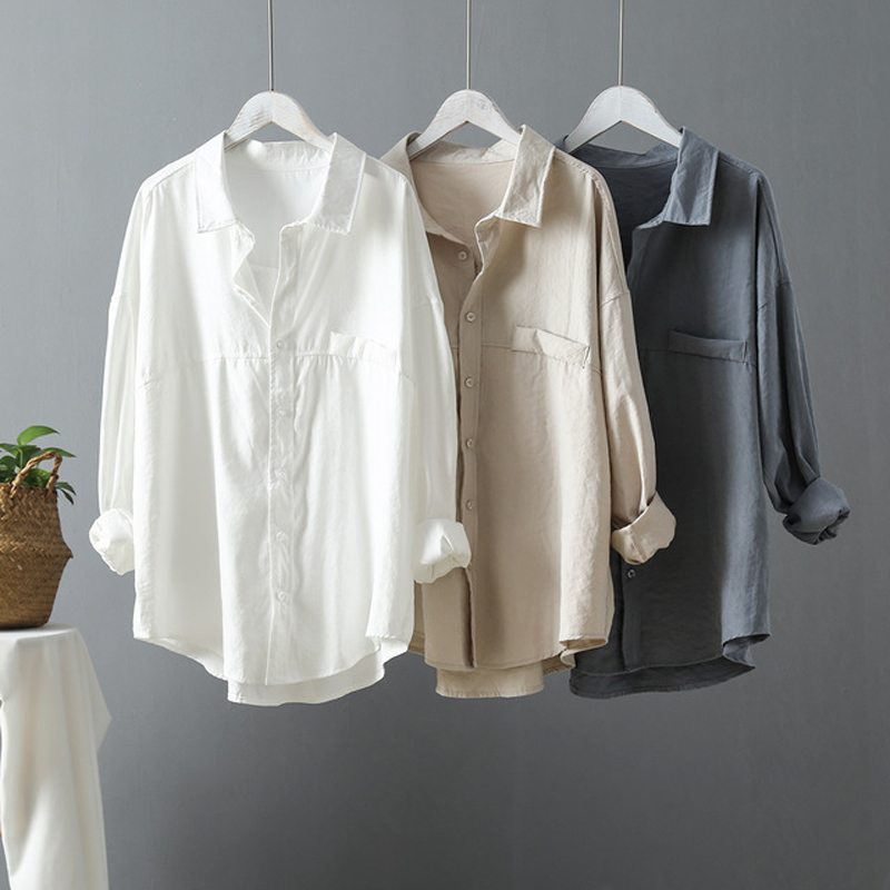 Casual Loose Women   Shirts   2019 Spring New Fashion Collar Plus Size   Blouse   Long Sleeve Buttons White   Shirt   Women Tops Streetwear
