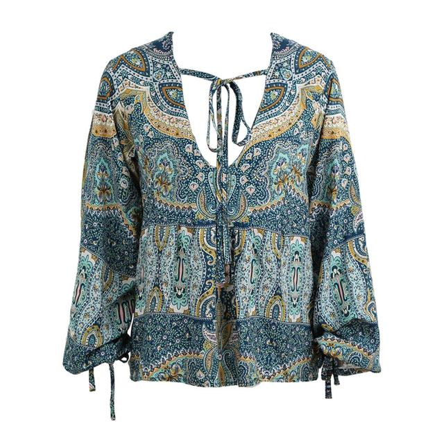 Women Print Blouse Plunge V Neck Long Lantern Sleeve Self-tie Strap Draped Front Loose Casual Boho Top Blue Chemise Femme