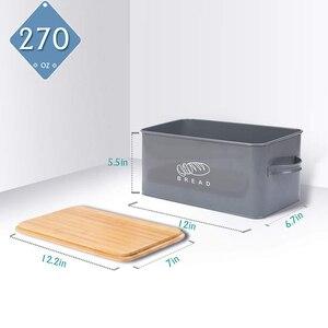 Image 3 - Saklama Kutuları Ekmek Kutuları Bambu Kesme Tahtası Ile Kapak Metal Galvanizli aperatif kutusu Kolları Tasarım Mutfak Konteynerler Ev Dekor