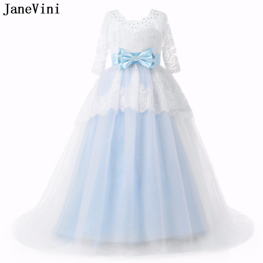JaneVini Vintage Lace Long   Flower     Girl     Dresses   for Wedding 2019 Scoop Neck Bow Sashes Beaded   Girls   First Communion Pageant Gowns