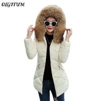 New Winter Down Cotton Coat Luxury Brand Long Slim Jacket Women Thicken Warm Winter Outwear Big Fur Collar Hooded Casual Parkas