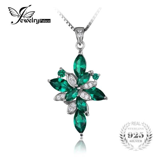 Flor forma 2.6ct criado verde nano russa esmeralda jewelrypalace 925 pingente de prata esterlina para mulheres na moda sem uma cadeia