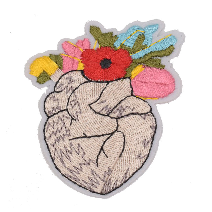 Home & Garden Prajna Punk Patches Hand Embroidered Iron On Patch Anatomical Heart Patch Flower Heart Gift For Doctor Nurse Grunge Patches Diy Apparel Sewing & Fabric