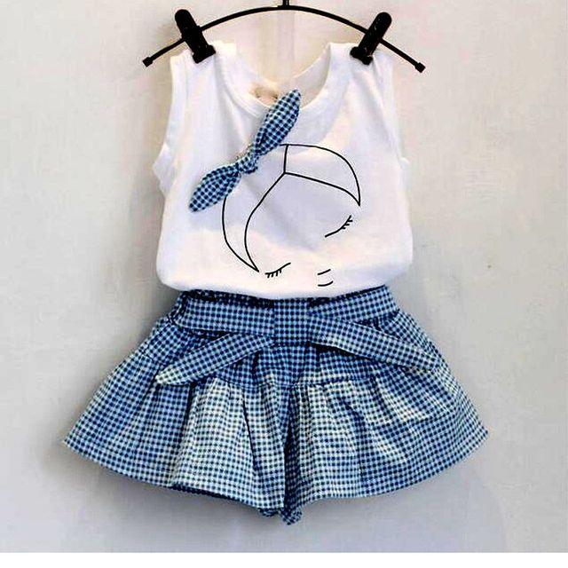 Novo 2017 da marca de verão do bebê menina conjuntos de roupas de moda de Algodão imprimir shortsleeve T-shirt e saias meninas roupas ternos do esporte