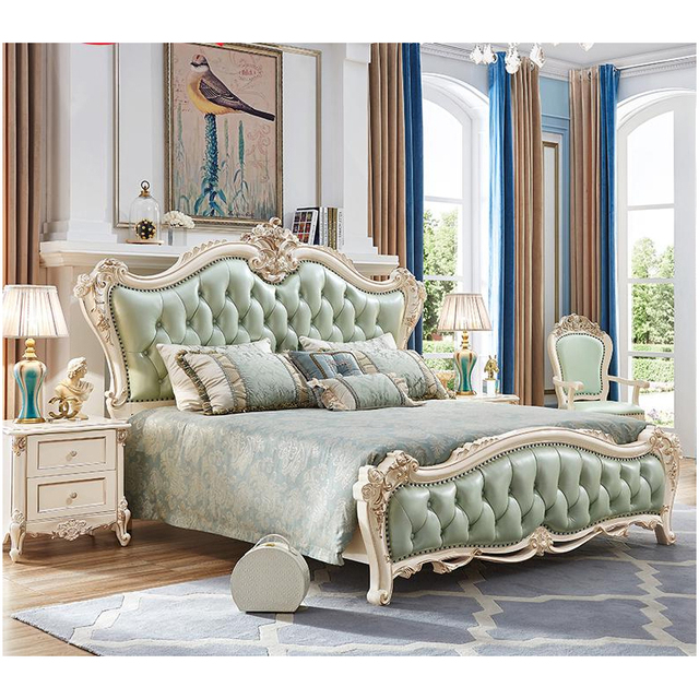King Size Solid Wood Hand carved Antique Bedroom Furniture Set With ...