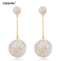 Round New Brand 18k Gold Plated Womens Earrings Elegant Crystal Stud Earrings Women S Fashion Jewelry