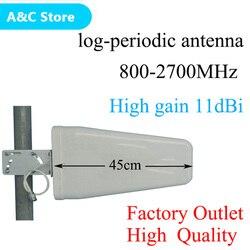 Alto ganho 11dBi 800 ~ 2700 mhz N-Log-periódica do sexo feminino Ao Ar Livre antena para CDMA/GSM DCS AWS WCDMA LTE sinal de reforço frete grátis