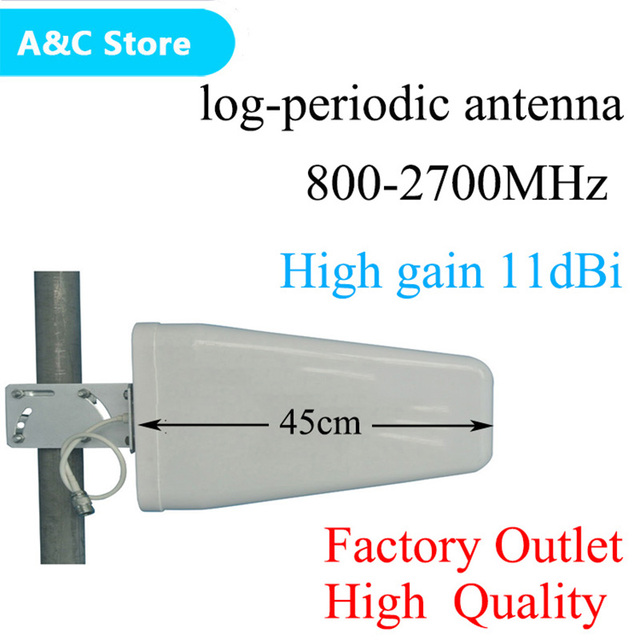 high gain 11dBi 800~2700mhz N female Log periodic Outdoor antenna for CDMA/GSM DCS AWS WCDMA LTE signal booster free shipping