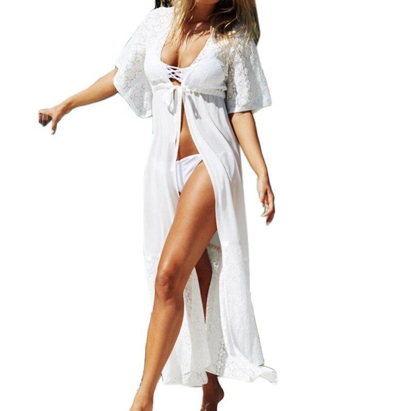 Balight Women Sexy Lace Long White Black Women Beach Cover Up Swim Suit Outdoor beachwear bikini cover up 2017
