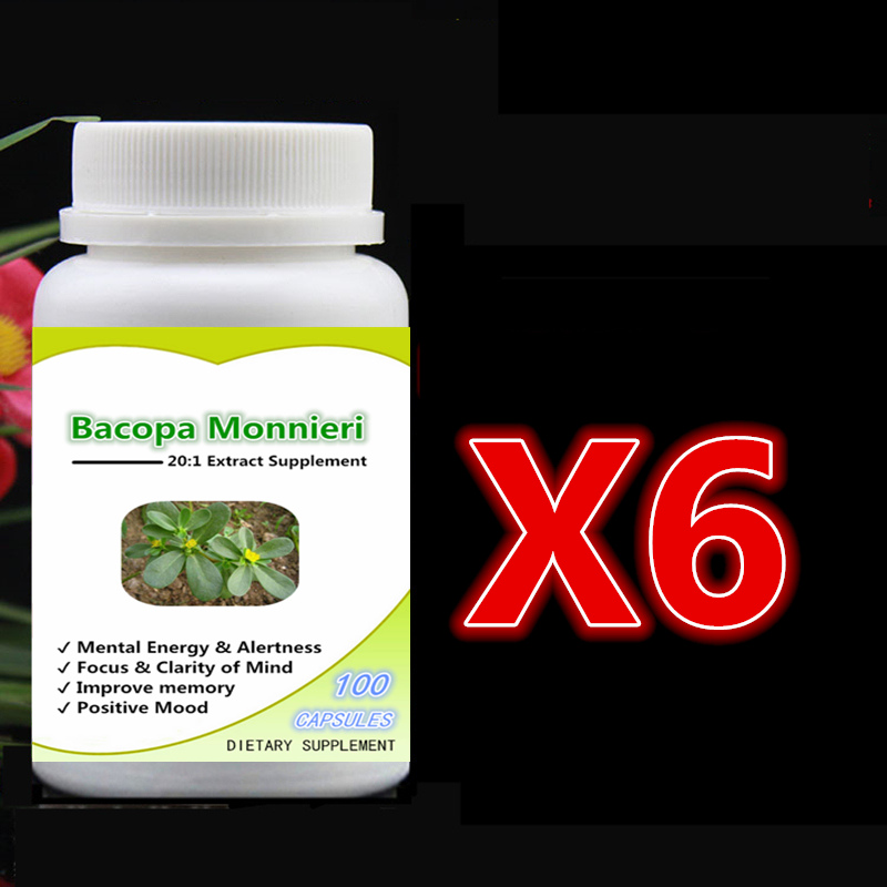 6 bottle 600pcs Pure Bacopa Monnieri 20:1 Extract with Bacosides Focus & Clarity of Mind Improve Memory Positive Mood Support hussain koorimannil and nabeesa salim bacopa monnieri l a medicinal source