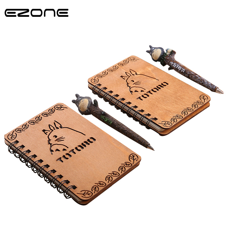 EZONE 1PC Kawaii Cartoon Spiral Notebook Creative Planner Blank Page Wooden Cover Diary office School Supplies Material Escolar 1pc creative cute cartoon animal planner notebook diary book wooden school supplies student gift