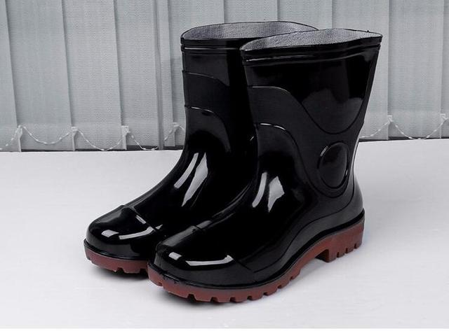 Genial New Kitchen Rain Boots British Men Platform PU Waterproof Motorcycle Black  Spring Winter Solid Martin Boots