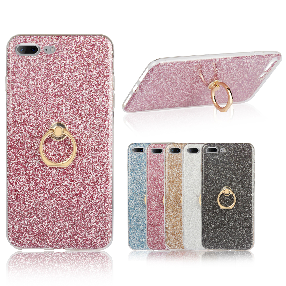 for Apple iphone 7 Plus Case Flash powder Case for iphone7Plus A1785 A1786 A1784 A1661 Finger buckle tpu Soft shell cover 5.5