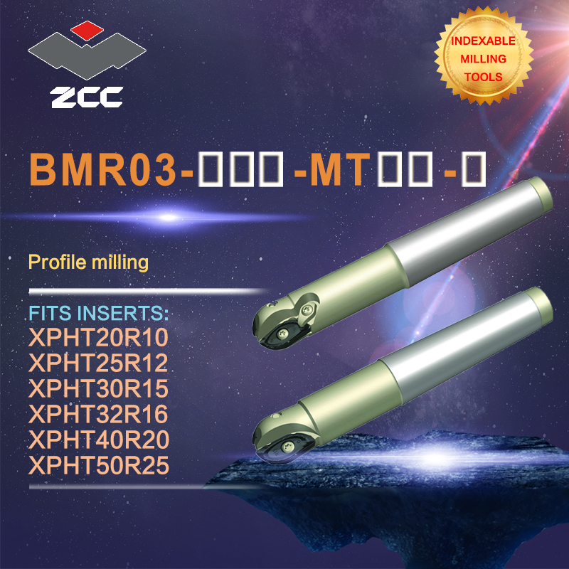 ZCC.CT profile milling cutters BMR03 high performance CNC lathe tools ball nose indexable milling tools morse taper shank