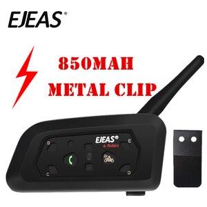 Image 1 - EJEAS V6 Pro Intercom Helmet Bluetooth Headset 850mAh Intercomunicador Microphone Metal Clamp MP3 GPS 1200m For 6 Riders
