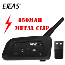 EJEAS V6 Pro interkom kask Bluetooth kulaklık 850mAh Intercomunicador mikrofon Metal kelepçe MP3 GPS 1200m 6 Riders için