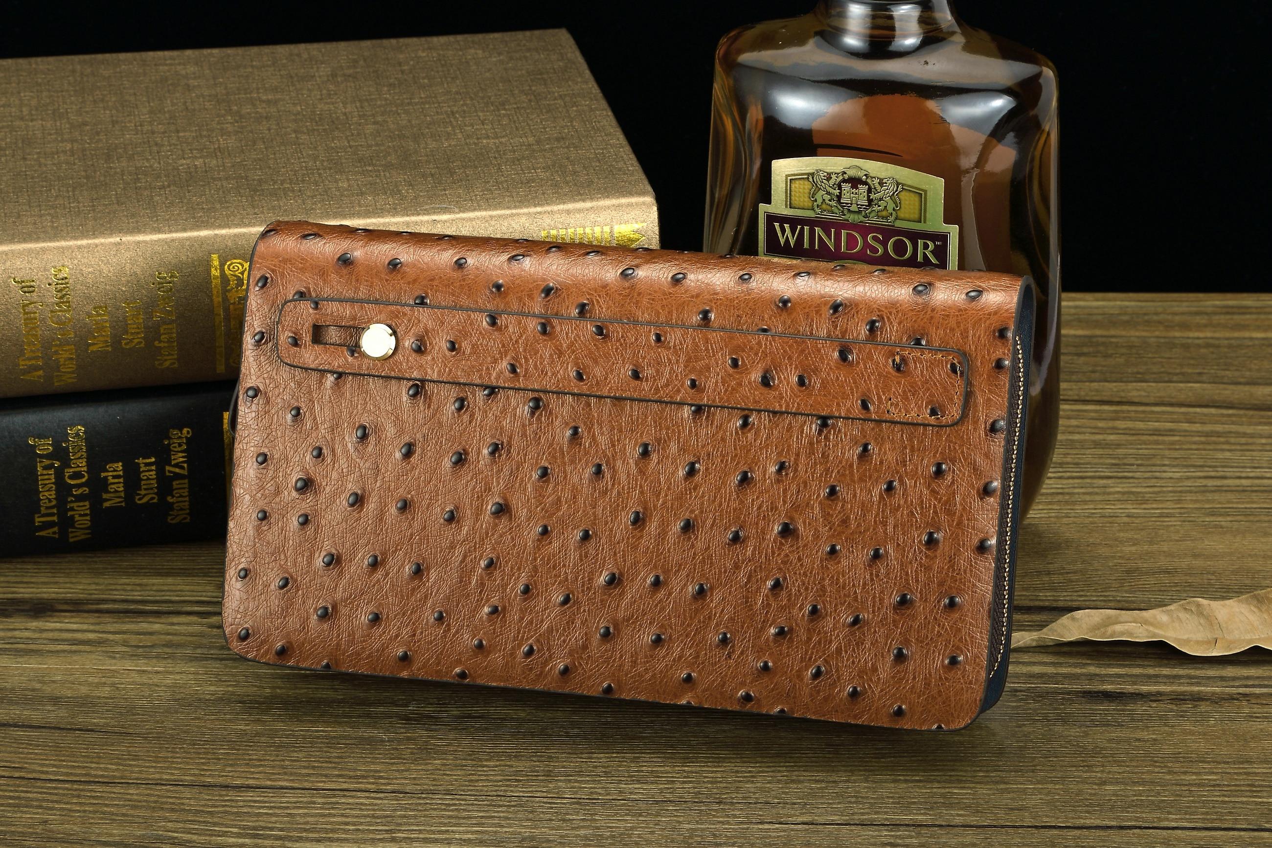 Geldbörse Brown T025 Mode Strauß 1 Yinte Bag Leder Männer England Brieftasche Clutch Kuh Muster Kupplung Passport Tasche Handgelenk Aus Stil Echtem BxvxUawq