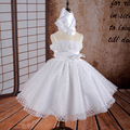 2016 New Arrival Ball Gown 2-14 Years Flower Girl Dresses Tulle White first communion dresses for girls Party Gowns With Bustle