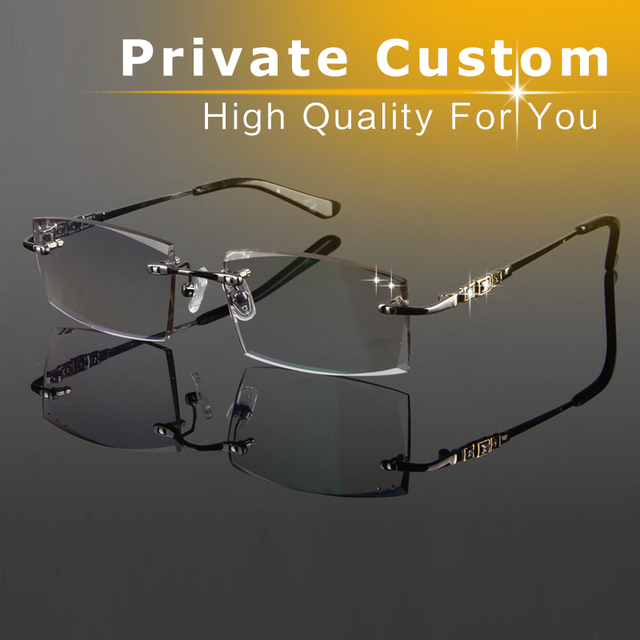 49698804c2 Brand Designer Glasses Men Rimless High Clear Lens Match Myopia  Prescription Glasses Personal Customization Reading Glasses 817