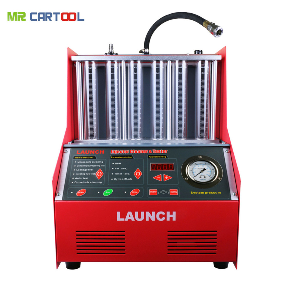 Launch CNC602A Car Fuel Injector Cleaning Machine Ultrasonic FUEL Injector Cleaner Tester Washing Tool 6 Cylinder DHL For Atuo