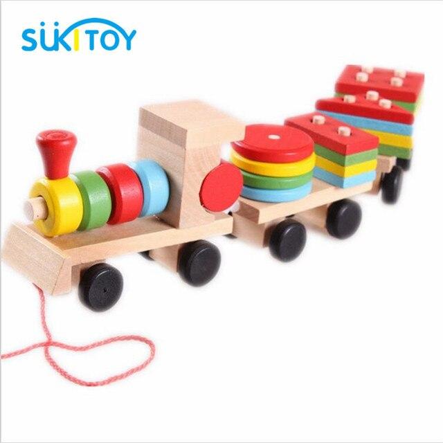 Forma de Correspondência de madeira Brinquedos Para Crianças Meninos Clássico Trem Modelos Building Blocks Oyuncak Brinquedo Montessori Jogo Oyuncaklar