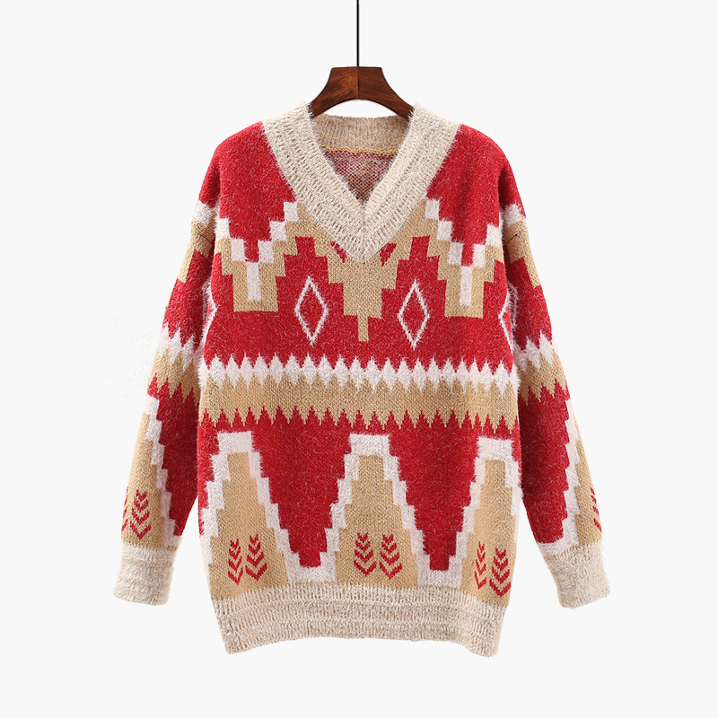 women Geometric thick V neck sweater 2018 female winter Christmas spring loose color knit knitted jacket outwear tops