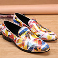 Fashion Leaves Print Men Slip On Loafers British Casual Flats Metal Decor Prom Dress Shoes Men Oxford Shoes Espadrilles Creepers
