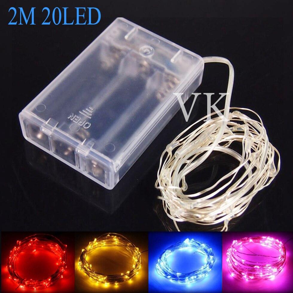 10PCS Copper Wire LED string lights Battery Powered 2m 20leds LED ...