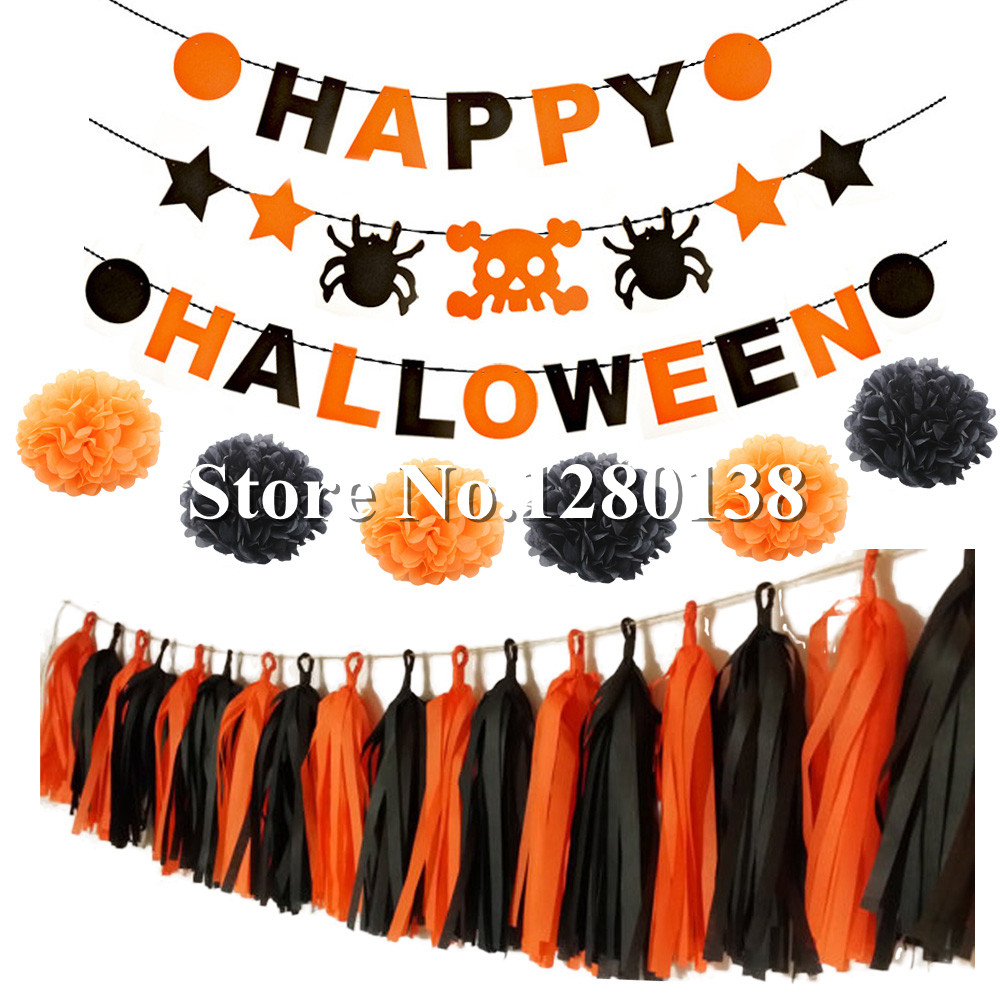 aliexpresscom buy hpydiy theme halloween party decoration set tissue paper pom poms flowers tassel garland with flag banner balloons orangeblack from - Halloween Pom Poms