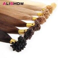 Alishow 14 26 100g Pre Bonded Nail U Tip Keratin Fusion Made Remy Human Hair Straight U Tip Hair Extensions Human Hair