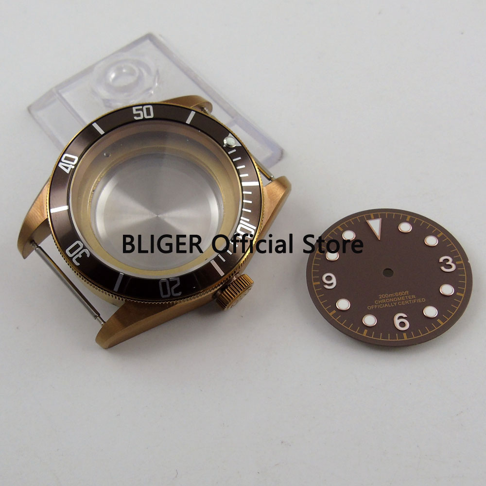 Sapphire Crystal 41MM Stainless Steel Copper Coated Watch Case Fit For ETA 2836 Automatic Movement+Coffee Dial C106