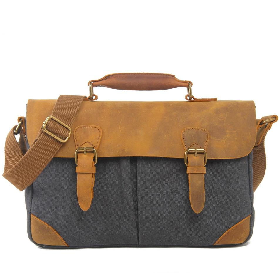 Leisure Canvas Bag Fund Restore Ancient Ways Portable Briefcase Match Luxury Cowboy Oil Skin Leather Bags Men Single Satchel casual canvas satchel men sling bag
