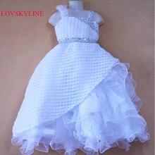 И розничная, платье из органзы с одним плечом и милым цветком для девочек детское платье праздничное платье для девочек небесно-708