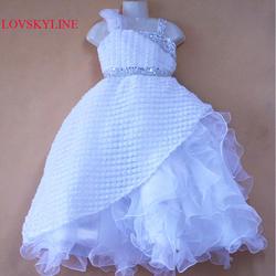 Оптом и в розницу Органза Одно Плечо Прекрасный платье с цветочным узором для девочек детское платье для девочек праздничное платье