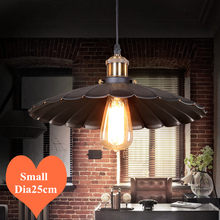 Loft&Warm creative lotus leaf iron art pendant lights Industrial style E27 LED small hang lamps for porch&stairs&bar CYDD006A(China)