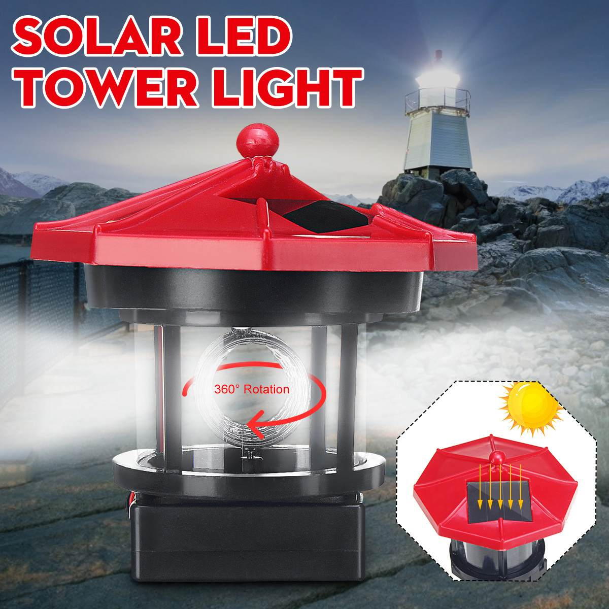 Solar Powered RED Lighthouse Statue Rotating Garden Yard Patio Outdoor Decor T#