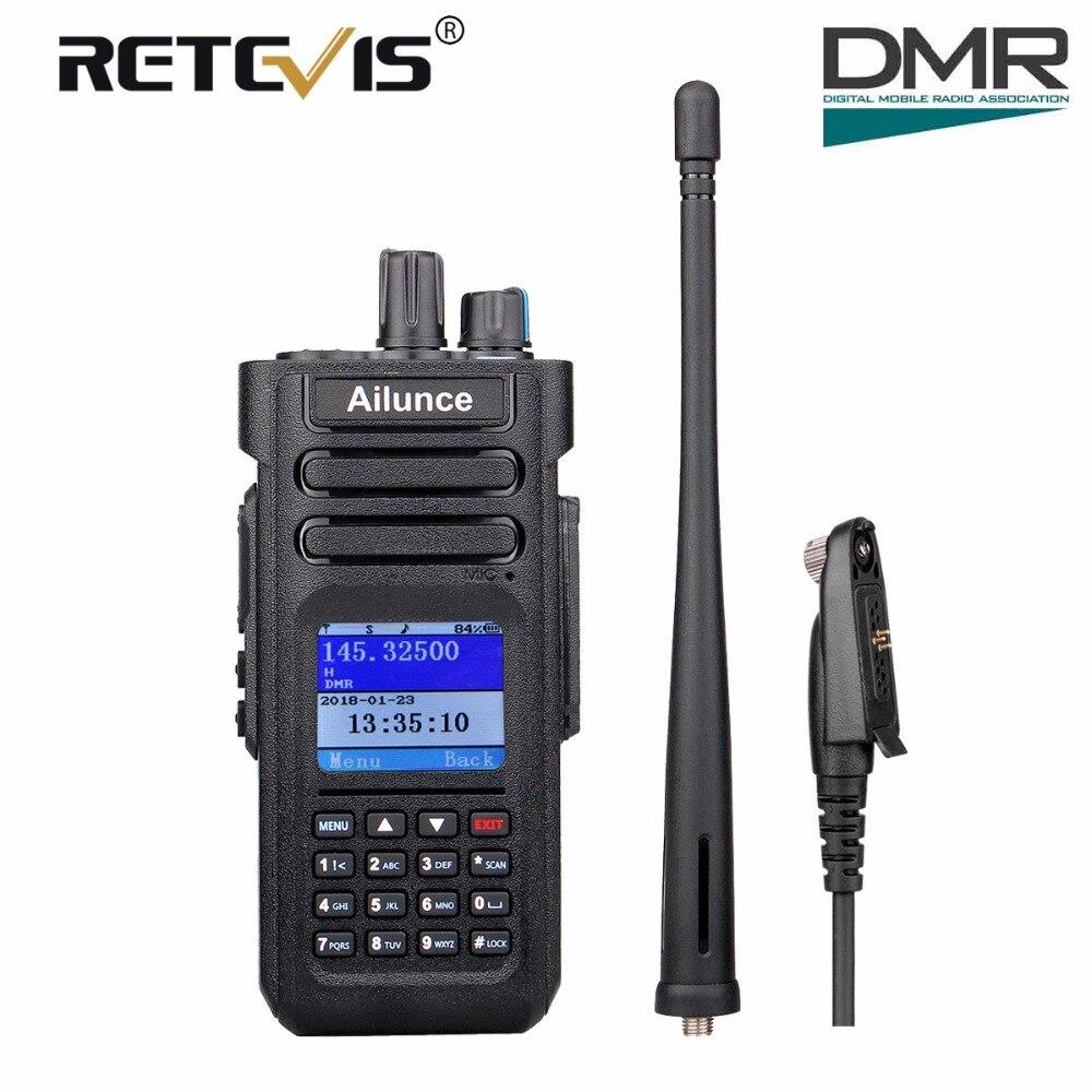 Double Bande DMR Retevis Ailunce HD1 Numérique Talkie Walkie Ham Amateur Radio (GPS) 10 w VHF UHF à Deux Voies Radio Hf Émetteur-Récepteur + Câble