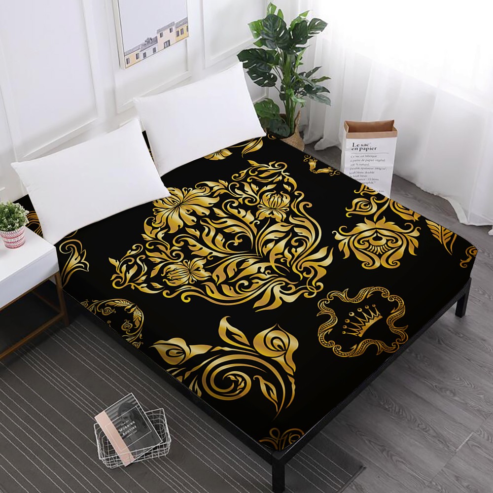 Black Bed Sheet Golden Cup Crown Print Fitted Sheet Twin Full Queen King Mattress Cover Mandala Moon Star Home Textile D30