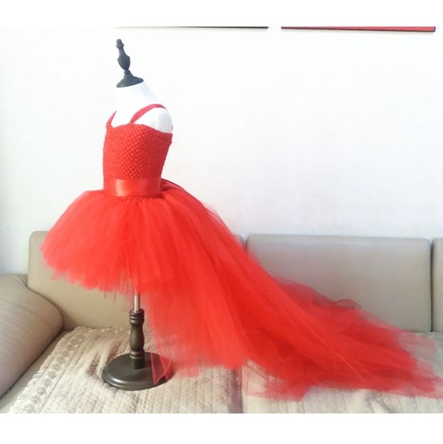 Train Tail Girls Red Tutu Dress Baby Bridesmaid Flower Girl Wedding Tulle Ball Gown Kids