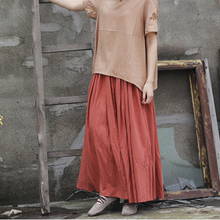 Johnature Original Ladies Skirts Cotton Summer New Elastic Waist Loose Pleated Solid Ankle Length Casual Style